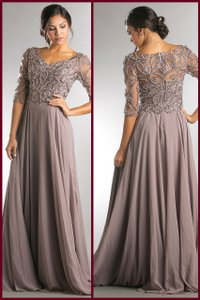 Clay Gray Chiffon Stones Paisley Beaded Open V Neckline Mother Of The Bride Long Gown Formal Bridesmaid/Mob Dress Size 12 (L)