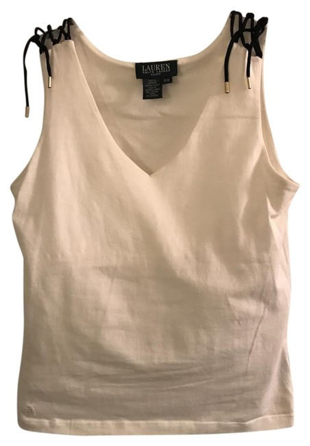Item - White & Navy By Tank Top/Cami Size Petite 6 (S)