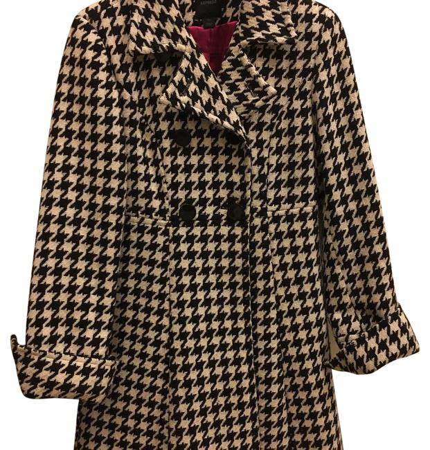 Item - Black and White Houndstooth Wool Coat Size 0 (XS)