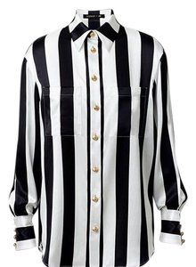 Balmain x H&M Top Black/Stripe With Gold Detailed Buttons