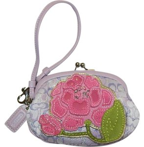 Coach Purple Limited Edition Floral Leather Wristlet in lilac/pink/silver