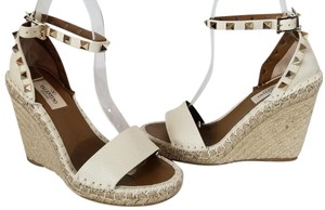 8177ce49f71 Valentino Ivory Wedges - item med img. Valentino. Ivory Rockstud Double  Leather Espadrille Sandal Wedges