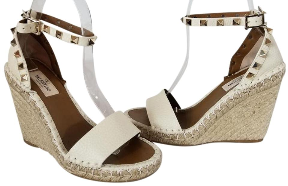 2564224cb7d Valentino Ivory Rockstud Double Leather Espadrille Sandal Wedges ...