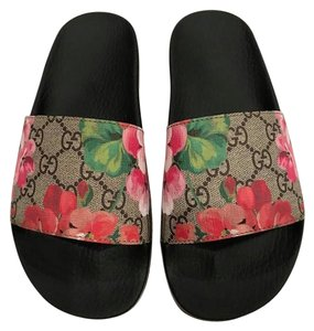 Gucci Bloom Blooming Slides Floral Logo black Sandals