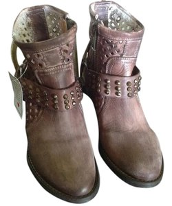 Very Volatile Harness Leather Studded Brown Distressed Boots