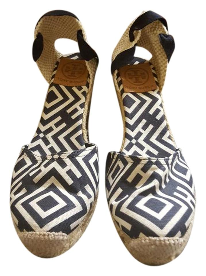 145812bf1 Tory Burch Navy   White Printed Espadrilles Heels Wedges. Size  EU 38  (Approx. US 8) Regular (M ...