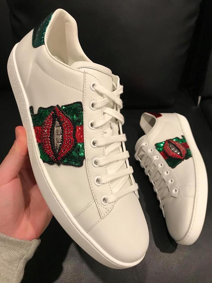 6bdc4944755e3 Gucci White Ace Leather Red Green Glitter Lips Low Top Lace Up Sneakers  Sneakers Size EU 42 (Approx. US 12) Regular (M