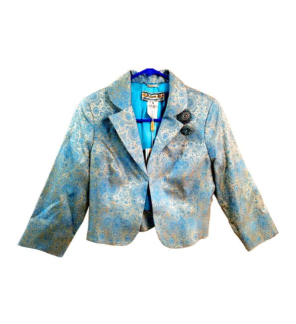 Item - Blue Glitter Jacquard Brocade with Crystal Brooch Jacket Size 6 (S)