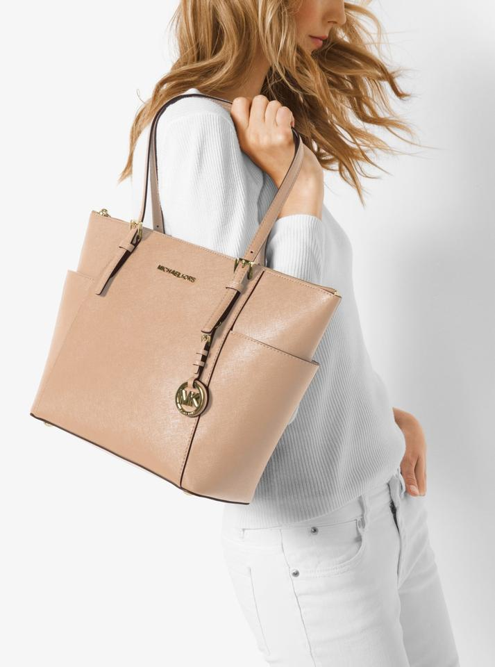 ec7bb70cbd4583 Michael Kors East West Jet Set Large Saffiano Top Zip Oyster Beige Leather  Tote - Tradesy