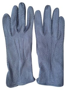 Kuna Size M Azure Blue Textured Peccary Leather Gloves