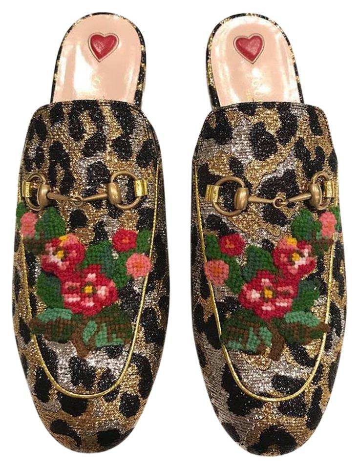 9b738139ac6 Gucci Black Princetown Gold Leopard Jacquard Loafers Mules Slippers Flats