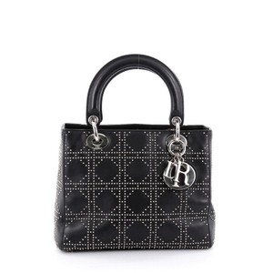 Dior Christian Cannage Leather Tote in Black