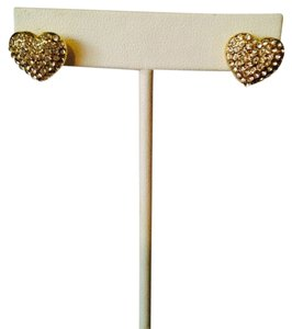 Jennifer Lopez NWOT Pave' Crystal Gold-Tone Heart Earrings