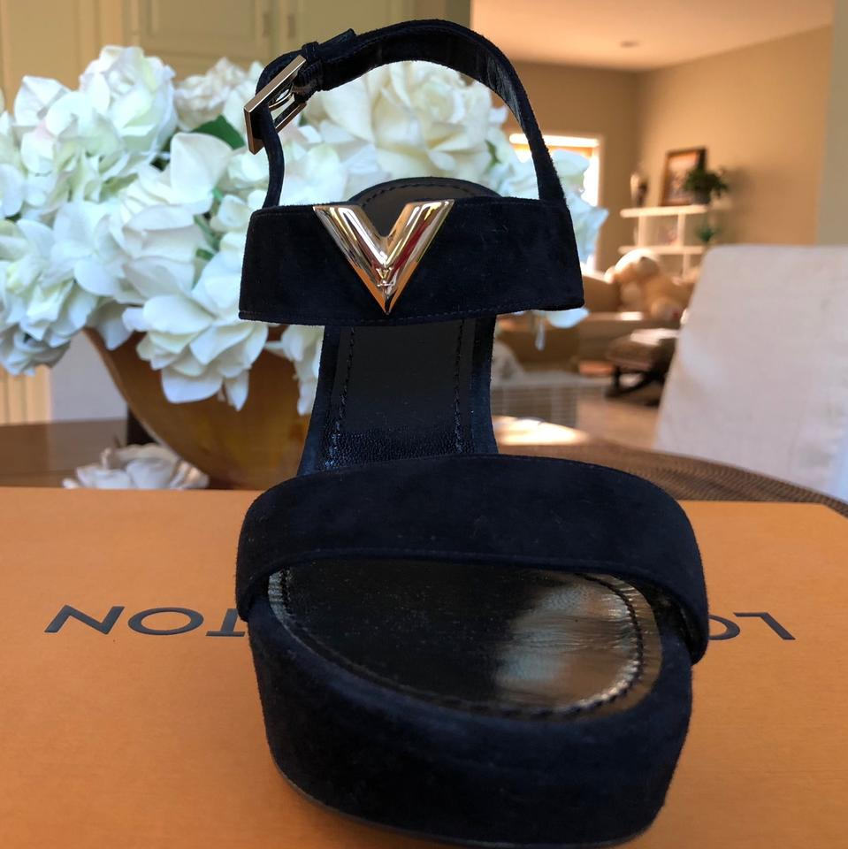 2298a0628cde Louis Vuitton Black New Wave Sandal Platforms Size US 6.5 Regular (M ...