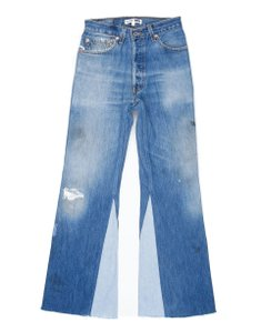 RE/DONE Vintage Cropped Levis Distressed Flare Leg Jeans-Distressed