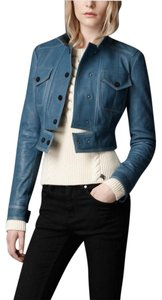 Burberry Leather Leather Crop Blue Jacket