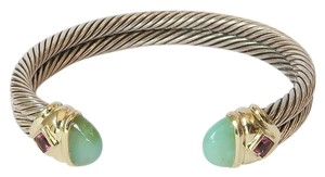 David Yurman David Yurman Aqua Chalcedony Amethyst Double Cable Bangle 10mm Bracelet