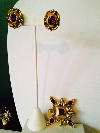 Other Embellished by Leecia Faceted Amethyst Crystal In Italian Scroll Style Clip Earrings