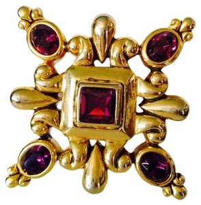 Other Embellished by Leecia Faceted Amethyst Italian Design Gold-Tone Brooch Only! Matching Earrings Sold Seperately.