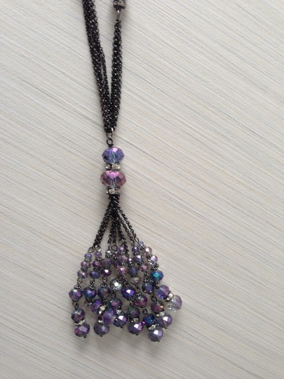 Other Purple Crystal Tassel Necklace