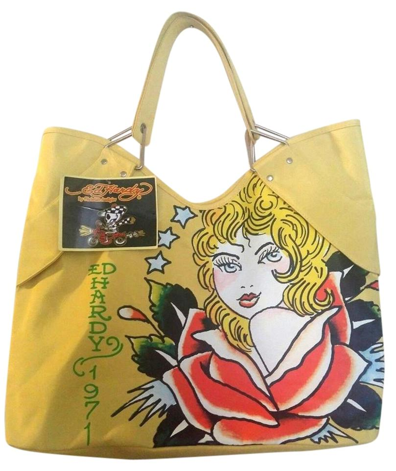5cb965007f79 Christian Audigier Limited Edition Ed Hardy 1971 Veronica Shoulder Tote in  YELLOW ...