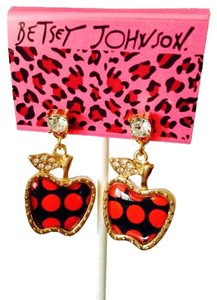 Betsey Johnson Red Polka Dot Apples With Crystal Dangle Earrings