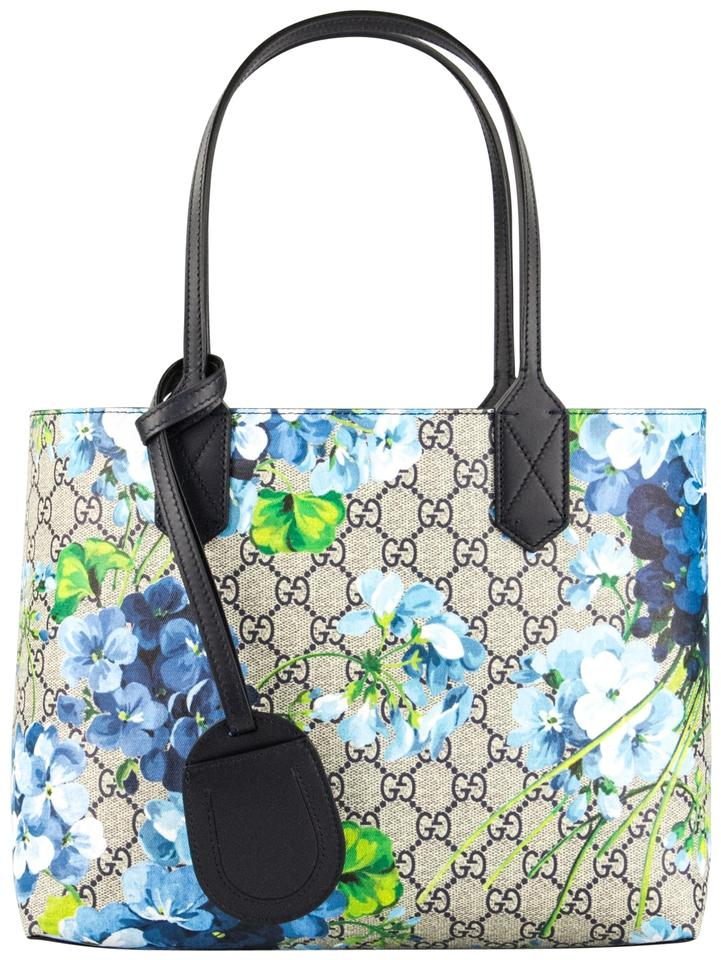 426f29ae3b7 Gucci Small Blooms Reversible Floral Navy Leather Tote - Tradesy