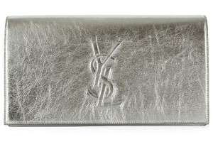 Saint Laurent Saint Laurent Ysl Belle Du Jour Large Silver Metallic Clutch Bag361120