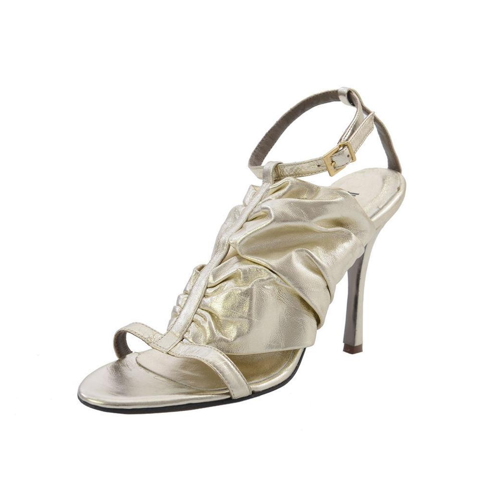 Just Strap Cavalli Gold Leather Ankle Strap Just Sandals 69c4cf