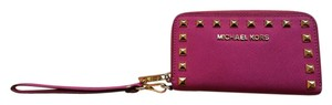 Michael Kors Studded Leather Edgy Hot Pink Clutch