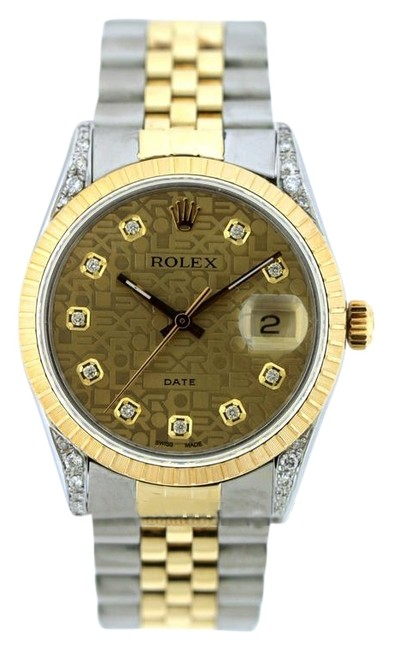 Rolex Champagne Jubilee Dial Box 34mm Date 2-tone Diamond with & Appraisal Watch Rolex Champagne Jubilee Dial Box 34mm Date 2-tone Diamond with & Appraisal Watch Image 1