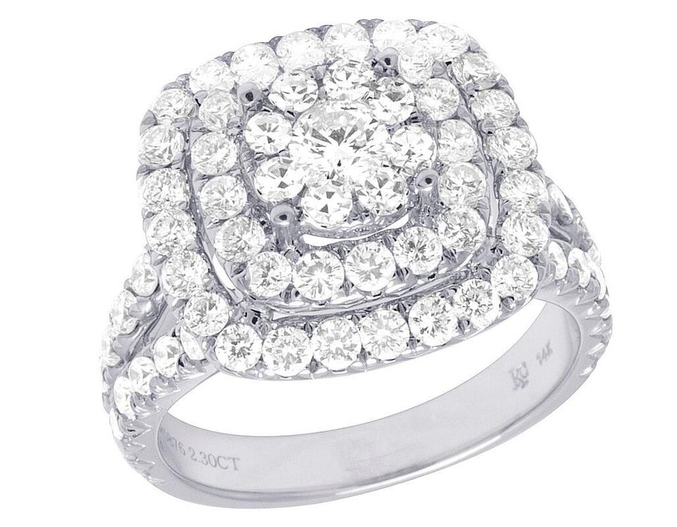 6c03917ca4991 Jewelry Unlimited 14k White Gold Diamond Square Halo Cluster Engagement  2.30ct 15mm Ring 71% off retail