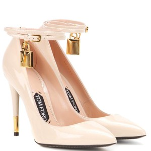 Tom Ford Padlock Blush Suede Ankle Strap Nude Pumps