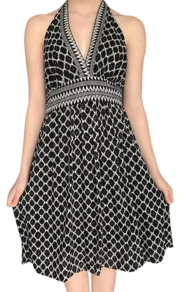 Bcbgmaxazria Black And White Print Halter Mid Length Night Out Dress