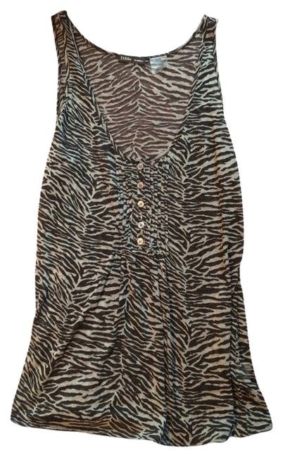 Preload https://item2.tradesy.com/images/heather-grey-tiger-pin-tuck-tank-night-out-top-size-12-l-2235831-0-0.jpg?width=400&height=650
