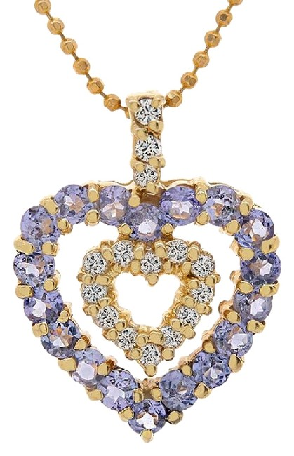 Avital & Co Jewelry Yellow Gold 0.75 Carat Tanzanite Diamond Heart Pendant 14k Necklace Avital & Co Jewelry Yellow Gold 0.75 Carat Tanzanite Diamond Heart Pendant 14k Necklace Image 1