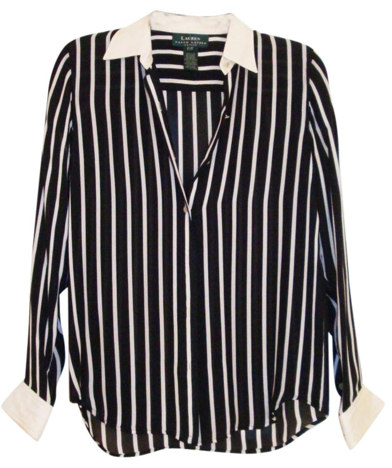 f30ae4c95f5a9 Lauren Ralph Lauren Black White Silk Striped Blouse Size Petite 0 ...