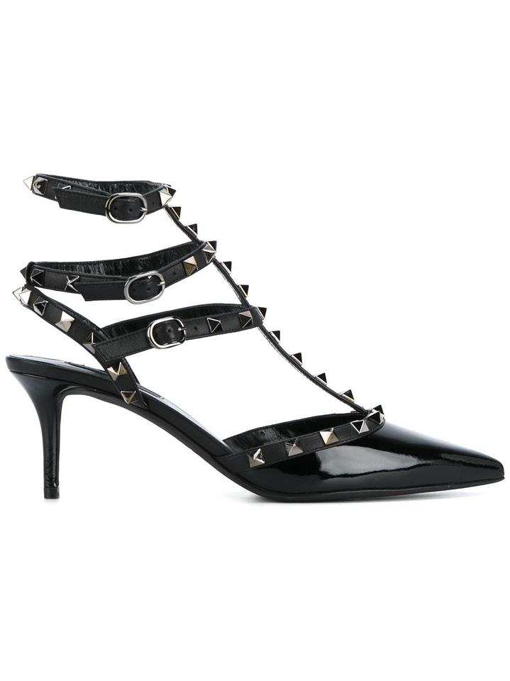 6279491d0e3 Valentino Black Noir Patent Leather Rockstud Kitten Heels Pumps Size US 6.5  Regular (M, B) 60% off retail