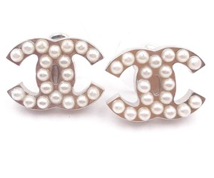 Chanel Chanel Classic Silver CC Faux Pearl Piercing Earrings