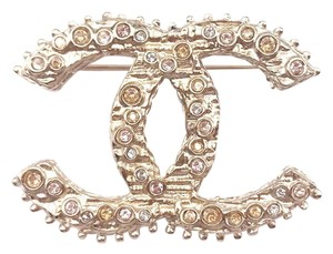 Chanel Chanel Classic Gold CC Peach Crystal Brooch