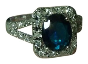 Jared Regal Round Cut Square Halo Split Silver Blue & White Gemstone Ring