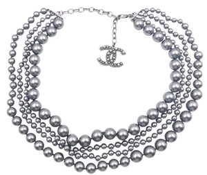 Chanel Chanel Gunmetal CC 4 Strand Grey Faux Pearl Necklace