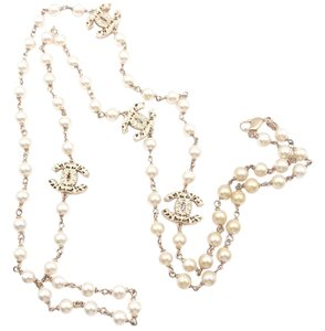 Chanel Chanel Gold Filigree Cutout CC Faux Pearl Necklace
