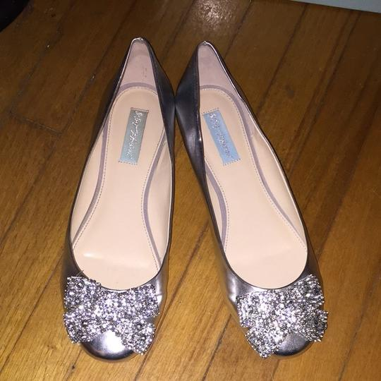 Betsey Johnson Silver Flats Rhinestone Bow Blue Soles Wedding Shoes