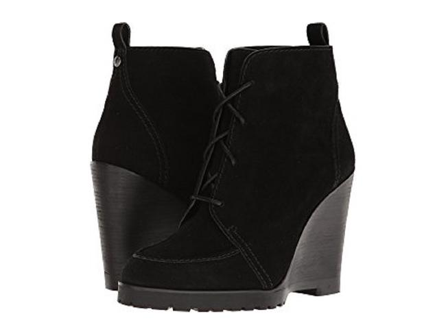 Item - Black Piper Suede Leather Lace Up Wedge Ankle Boots/Booties Size US 8.5 Regular (M, B)