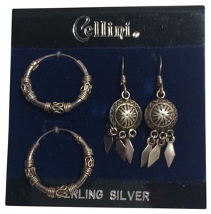Cellini Two Pair Sterling Silver Earrings