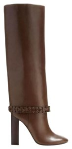 Tory Burch Leather Tall Braided Brown Boots