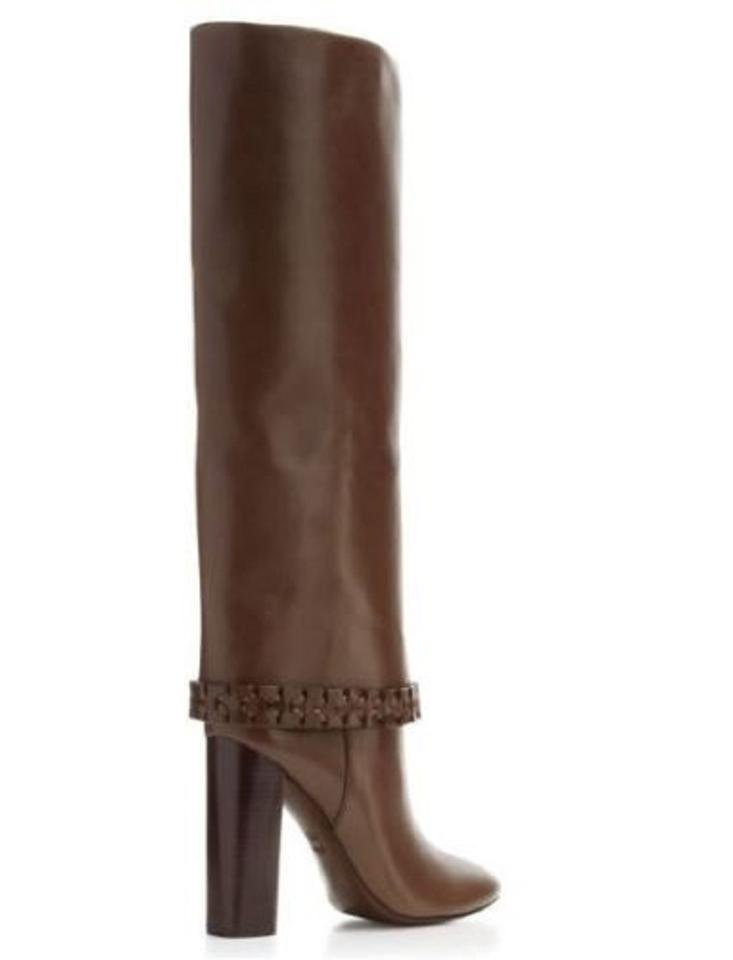 c3cf496fb74 Tory Burch Brown Sarava Leather Braided Ankle Tall Boots Booties ...