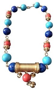 Vintage Coral,Blue & Gold Necklace
