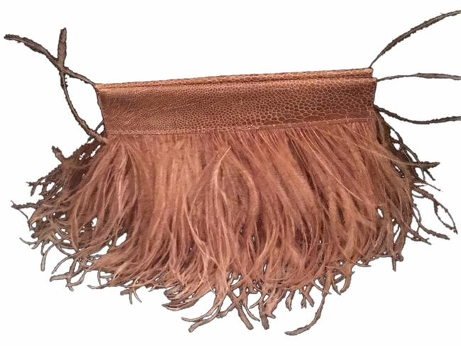 Item - Clever Carriage Company Evening Bag Champagne Leather Suede and Ostrich Clutch